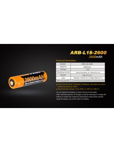 Fenix - Rechargeable Battery for Flashlights- 3,6 V - 2600 mAh - 18650   Fenix Batteries and Battery Chargers