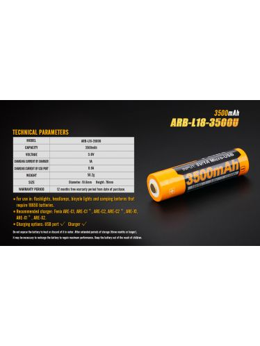 Fenix - Rechargeable Battery - 3.6 V - 3500 mAh -  Micro USB | Fenix Batteries and Battery Chargers