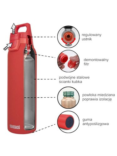 SIGG - Thermo Flask ACCENT Hot & Cold with removale filter 0,50L - Black   Hot & Cold Glass Bottles