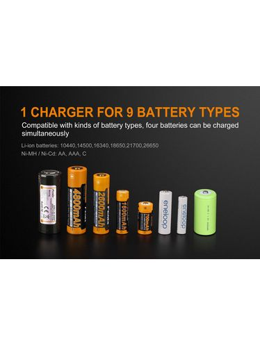 Fenix - Battery Charger ARE-A4 Multifunction Advanced for Rechargeable Batteries Li-ion, Ni-MH or Ni-Cd | Fenix Batteries and Battery Chargers