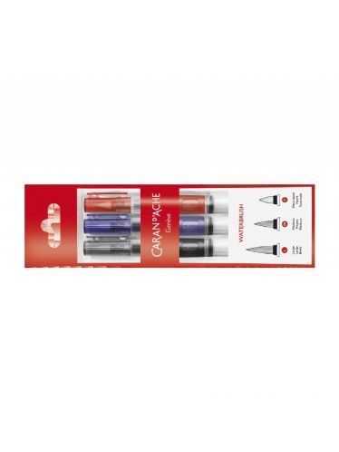 Caran d'Ache - Set 3 Travelling Brushes with tank tip for watercolours | Paint