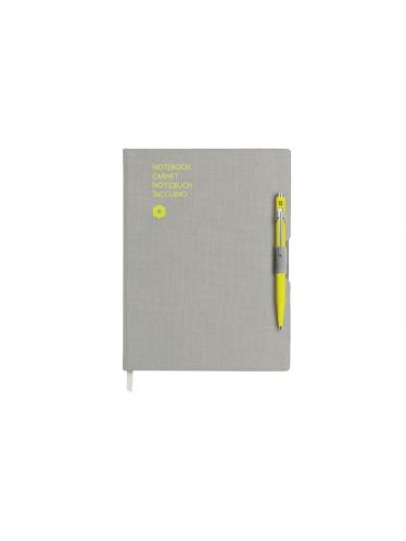 Caran d'Ache - 849 Ballpoint pen YELLOW & notebook OFFICE A5 GREY | Notebook Sets