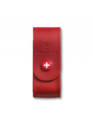 Victorinox - Leather Pouch with button for 91mm Pocket Knives (2-4 layers) Red | Original Pouches