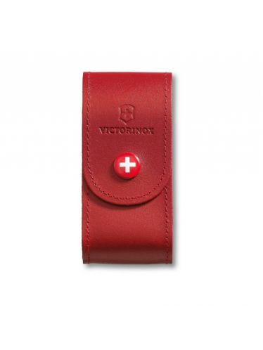 Victorinox - Leather Pouch with button for 91mm Pocket Knives (5-8 layers) Red | Original Pouches