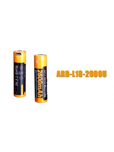 Fenix - Rechargeable Battery for Flashlights - 3,6 V - 2600 mAh - 18650 -  Micro USB | Fenix Batteries and Battery Chargers