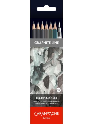 Caran d'Ache - Graphite Line Technalo Set of 6 Water-soluble Graphite Pencils + 1 Waterbrush + 1 Metal box | Sharpening Machines and Sharpeners
