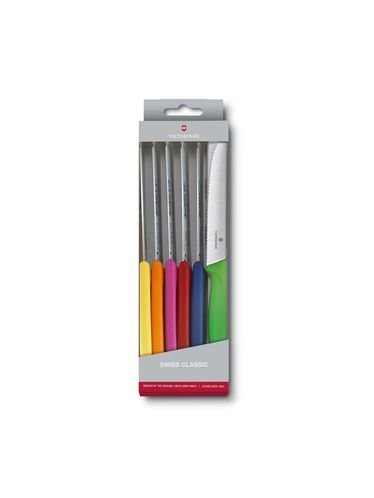 Victorinox Swiss Classic - Colorful Tomato and Table Knife Set with 6 Knives | Steak Knives