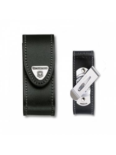 Victorinox - Leather Pouch with CLIP for 91mm Pocket Knives (2-4 layers) Black | Original Pouches