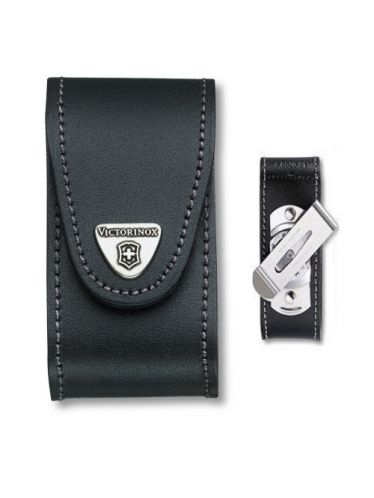 Victorinox - Leather Pouch with CLIP for 91mm Pocket Knives (5-8 layers) Black | Original Pouches
